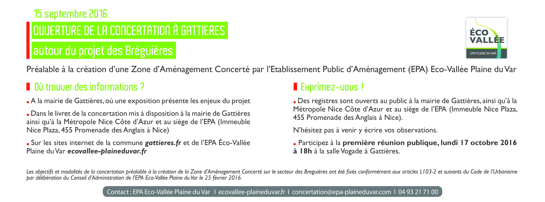 Ouverture de laconcertation publiqueà Gattières projet «Les Bréguières» [1ère réunion publique: 15/09/2016]